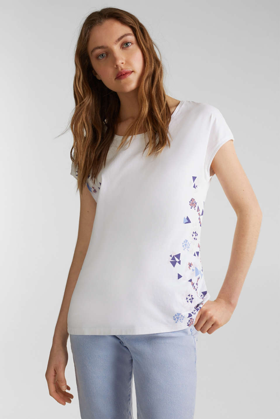 T-shirt with geometric print, 100% cotton, WHITE, detail image number 5