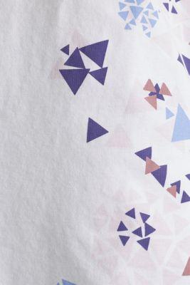 T-shirt with geometric print, 100% cotton, WHITE, detail