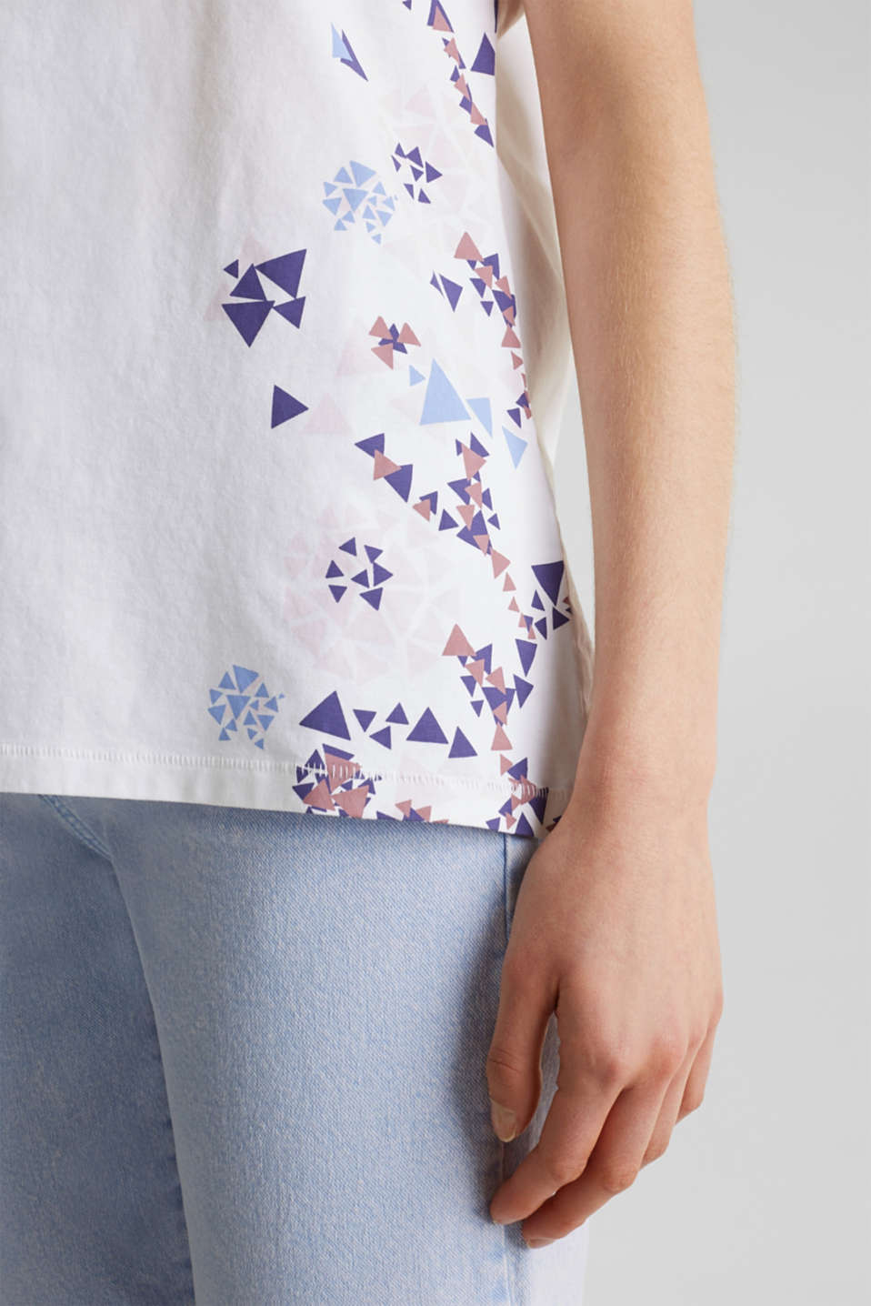 T-shirt with geometric print, 100% cotton, WHITE, detail image number 4