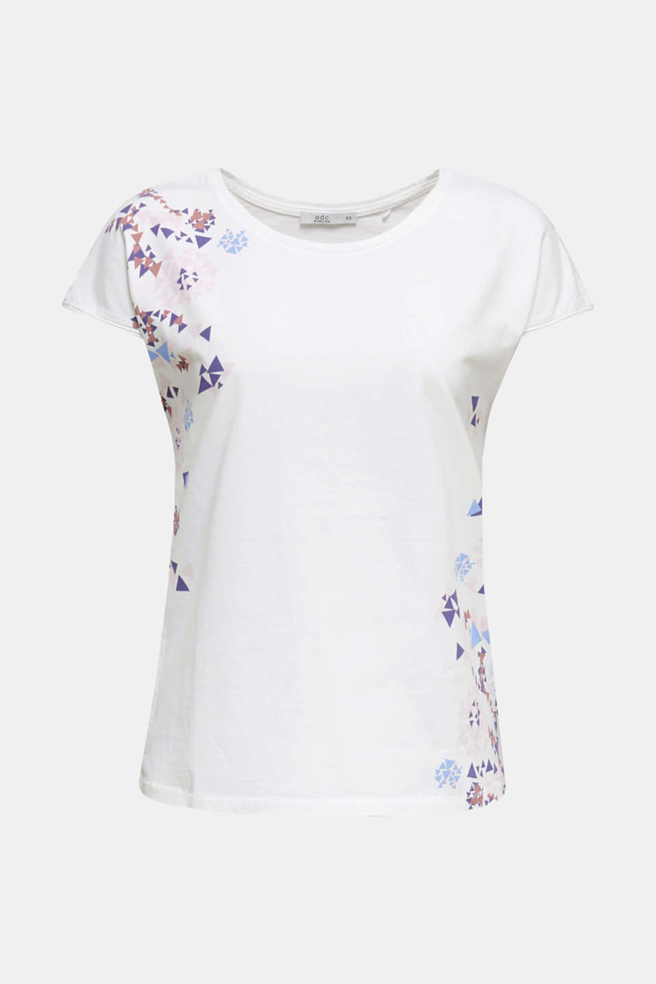 T-shirt with geometric print, 100% cotton, WHITE, detail image number 6