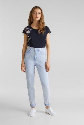T-shirt with geometric print, 100% cotton, NAVY, detail