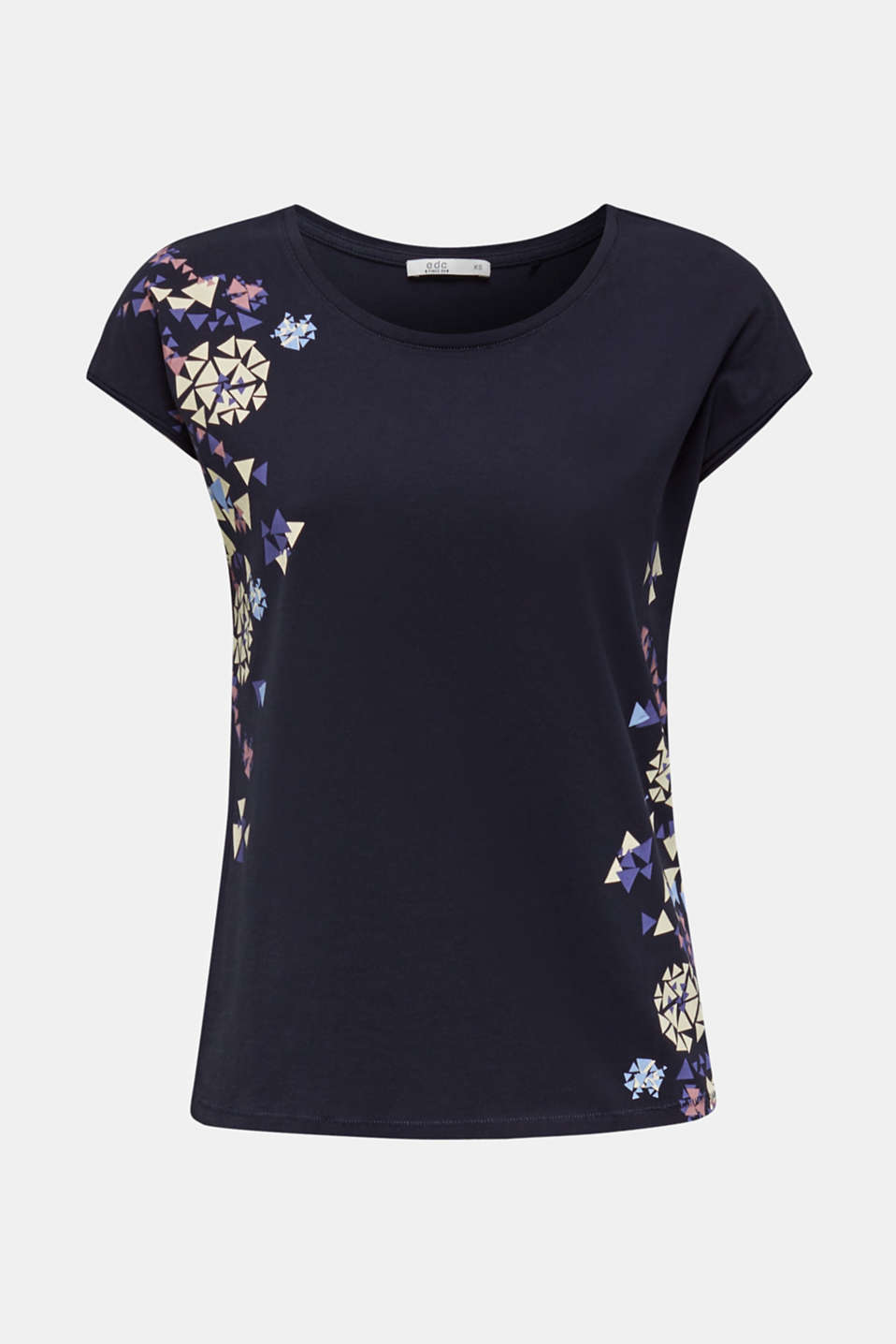 T-shirt with geometric print, 100% cotton, NAVY, detail image number 5