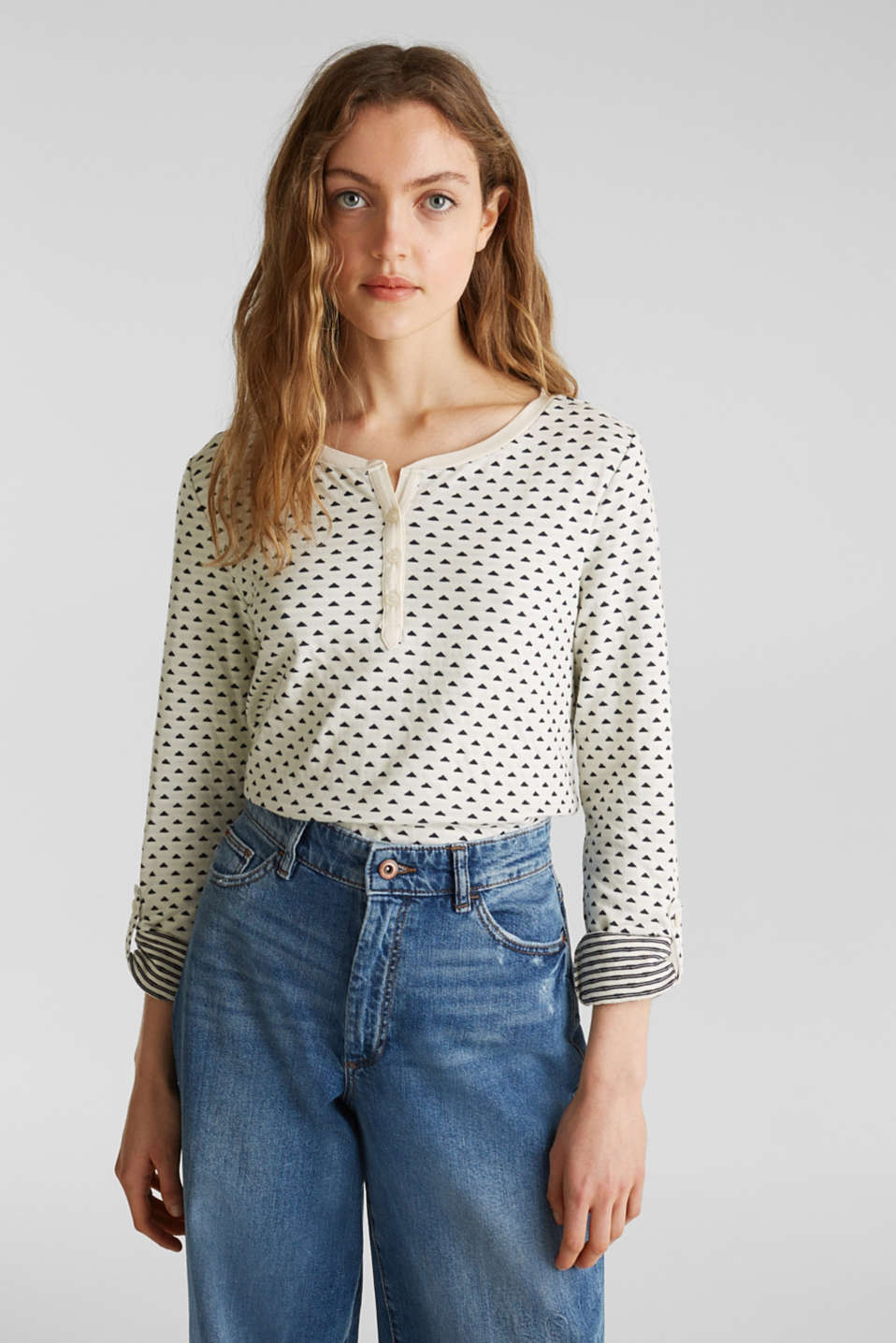 Double-faced jersey long sleeve top, 100% cotton, OFF WHITE, detail image number 0