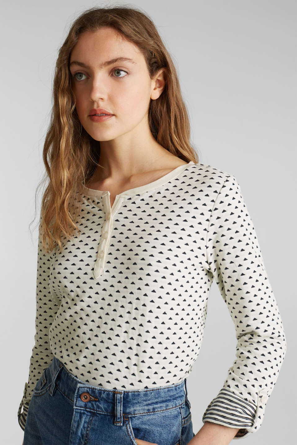 Double-faced jersey long sleeve top, 100% cotton, OFF WHITE, detail image number 4