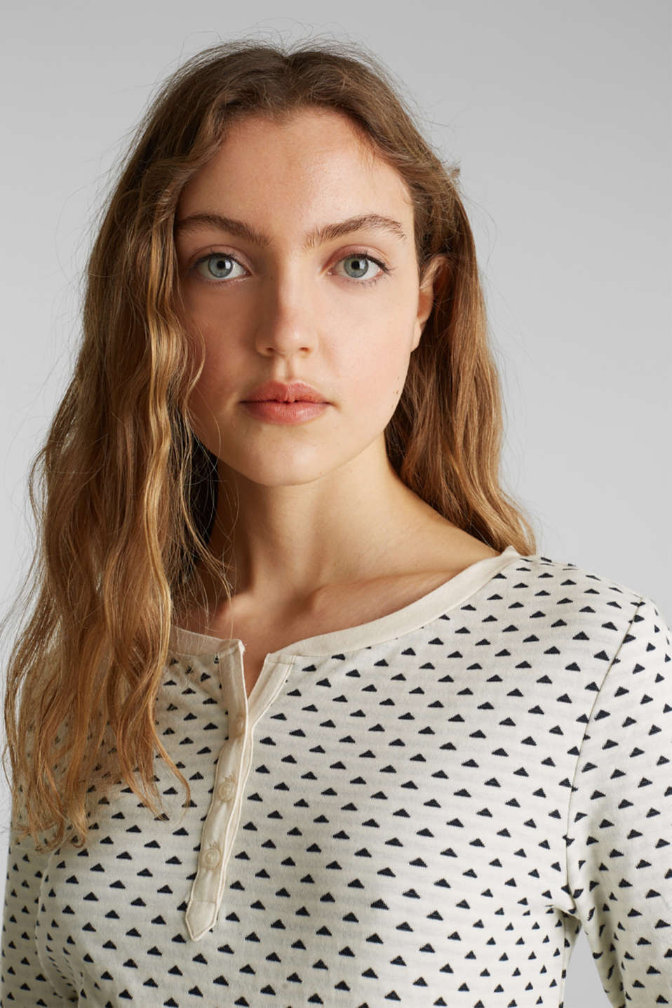 Double-faced jersey long sleeve top, 100% cotton, OFF WHITE, detail image number 6