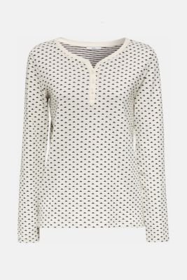 Double-faced jersey long sleeve top, 100% cotton, OFF WHITE, detail