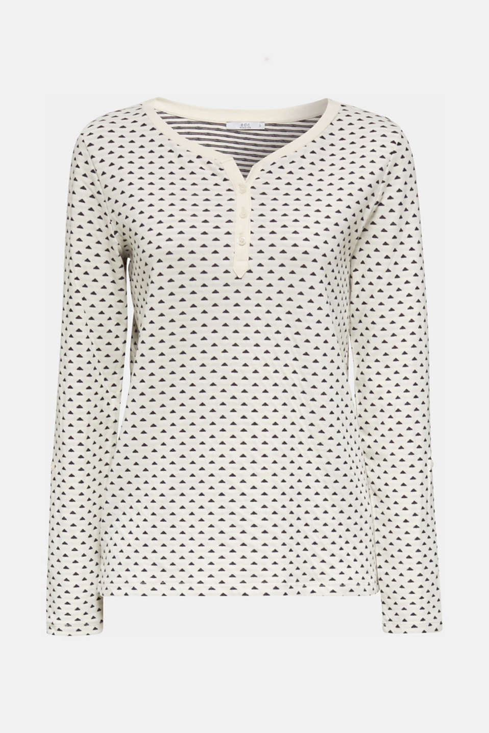 Double-faced jersey long sleeve top, 100% cotton, OFF WHITE, detail image number 7