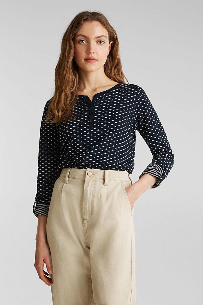 Tričko s dlouhým rukávem, z oboustranného žerzeje, 100% bavlna, NAVY, detail image number 0