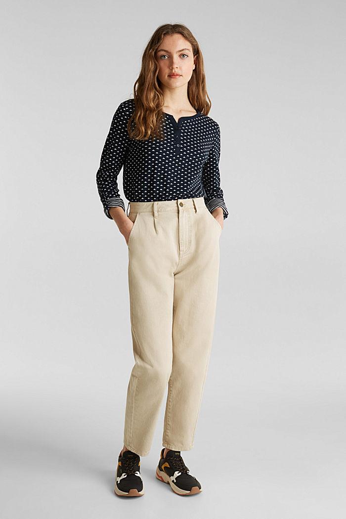 Tričko s dlouhým rukávem, z oboustranného žerzeje, 100% bavlna, NAVY, detail image number 1