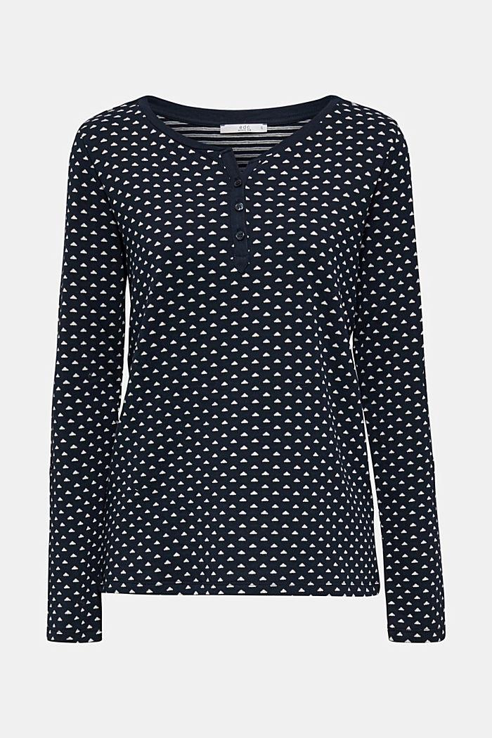 Tričko s dlouhým rukávem, z oboustranného žerzeje, 100% bavlna, NAVY, detail image number 6