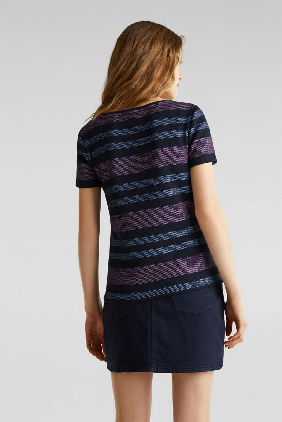 Stretch top with textured stripes, NAVY, detail image number 3