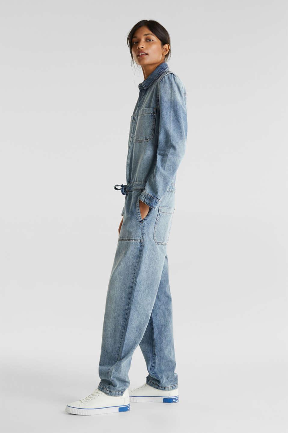 Boiler suit made of denim, BLUE LIGHT WASH, detail image number 1