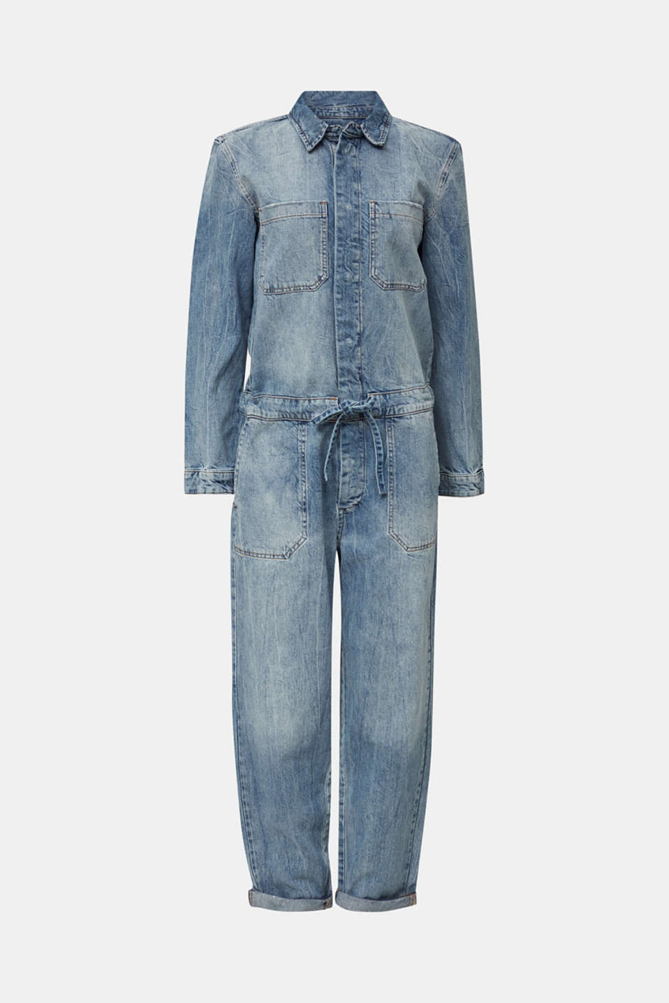 Boiler suit made of denim, BLUE LIGHT WASH, detail image number 7