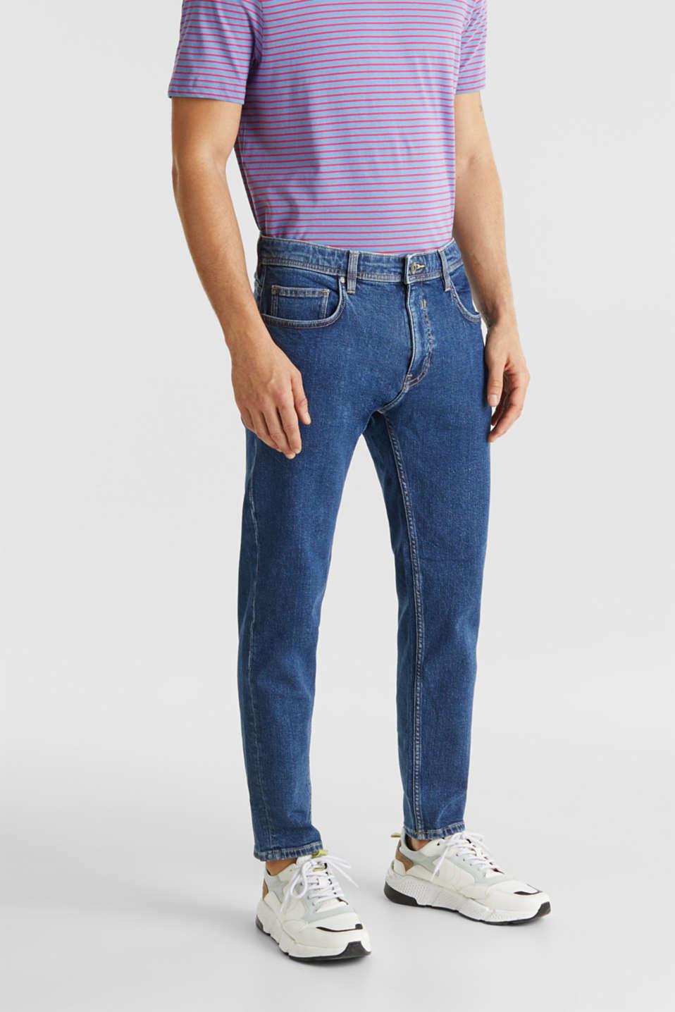 Vintage wash stretch jeans, BLUE DARK WASH, detail image number 4