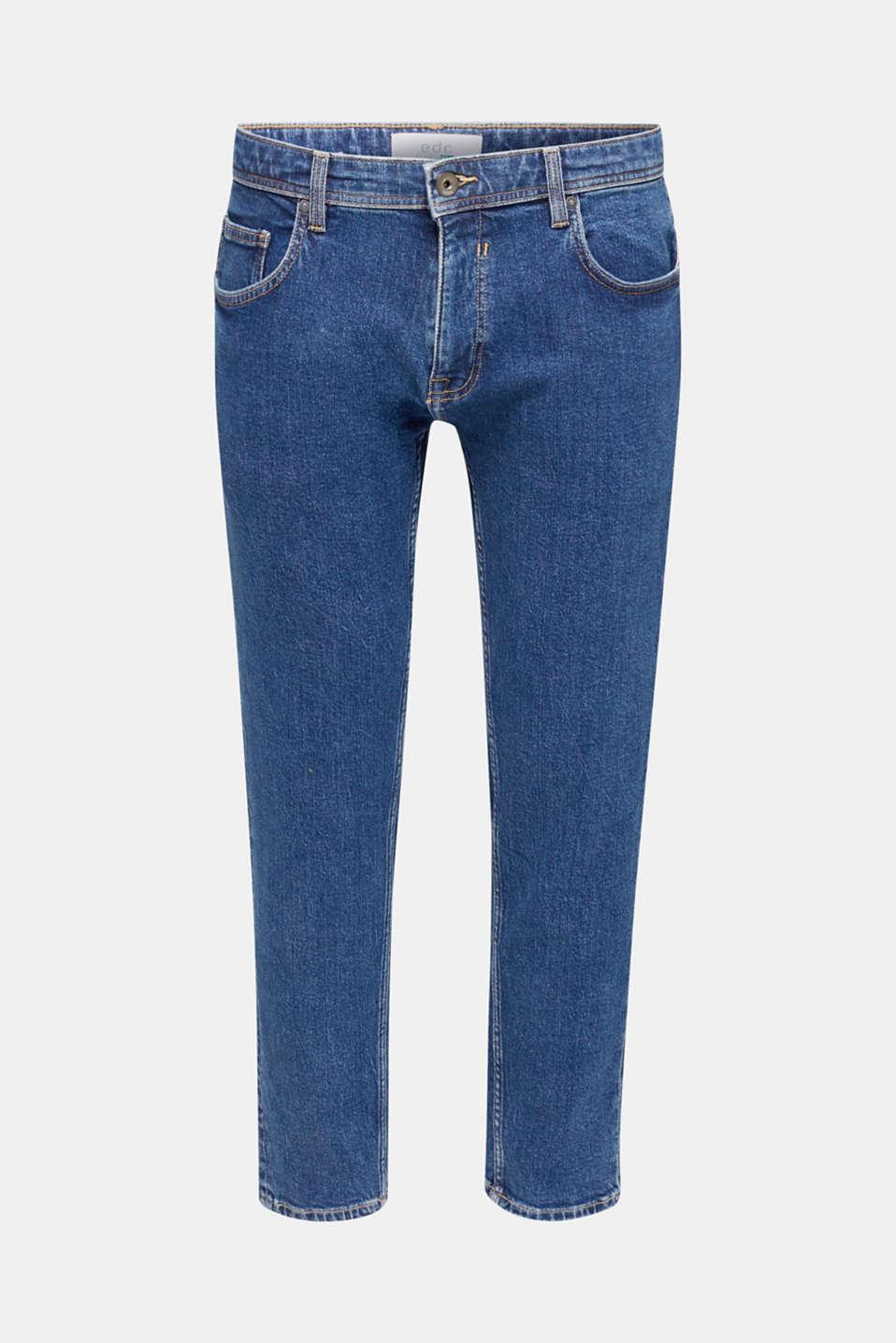 Vintage wash stretch jeans, BLUE DARK WASH, detail image number 7