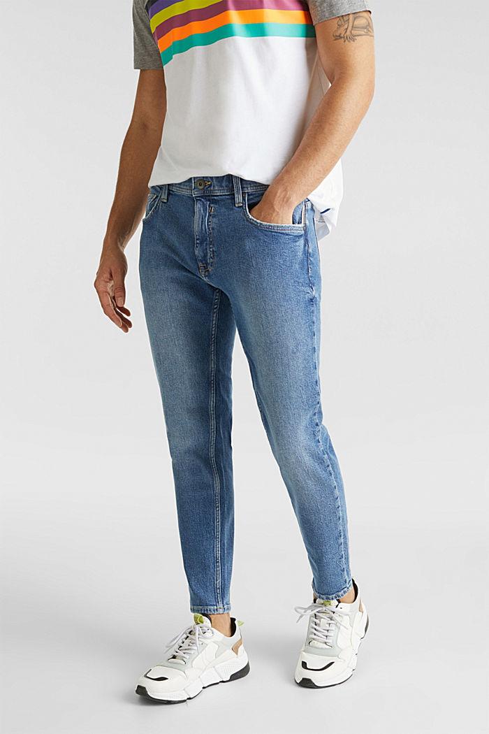Vintage wash stretch jeans, BLUE MEDIUM WASHED, detail image number 0