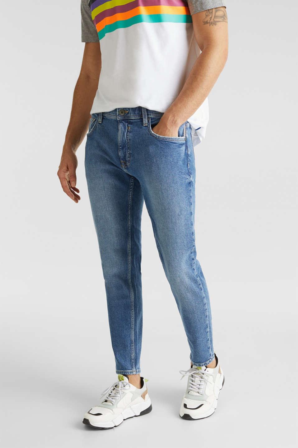 Vintage wash stretch jeans, BLUE MEDIUM WASH, detail image number 0