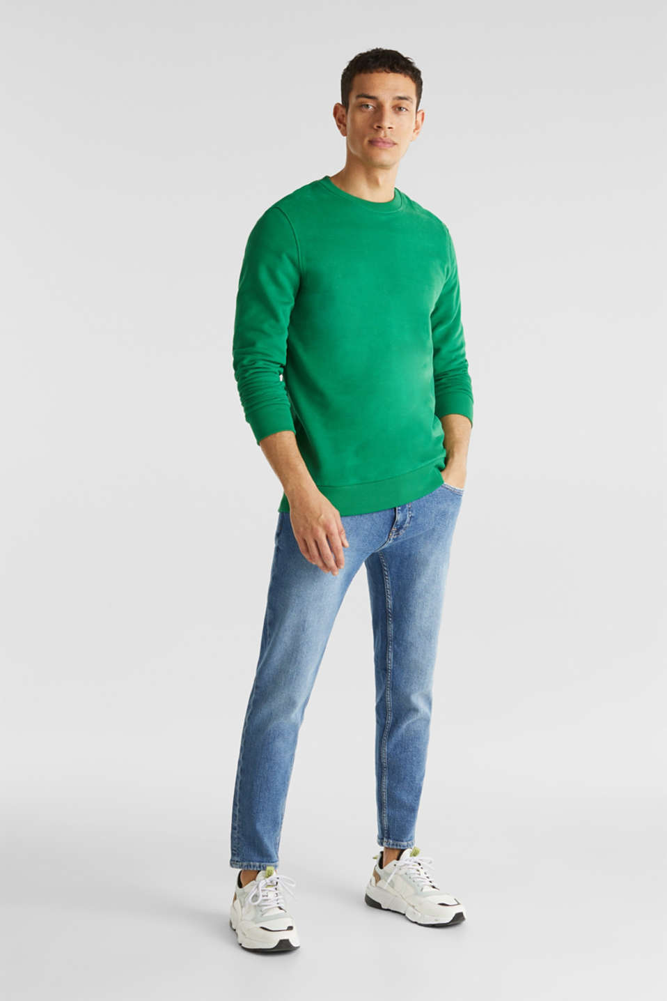 Vintage wash stretch jeans, BLUE MEDIUM WASH, detail image number 2