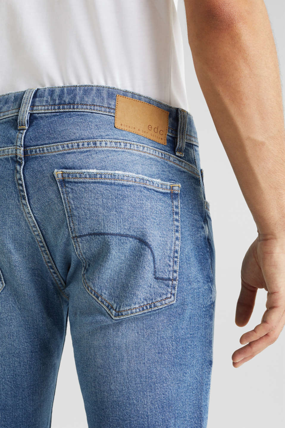 Vintage wash stretch jeans, BLUE MEDIUM WASH, detail image number 5