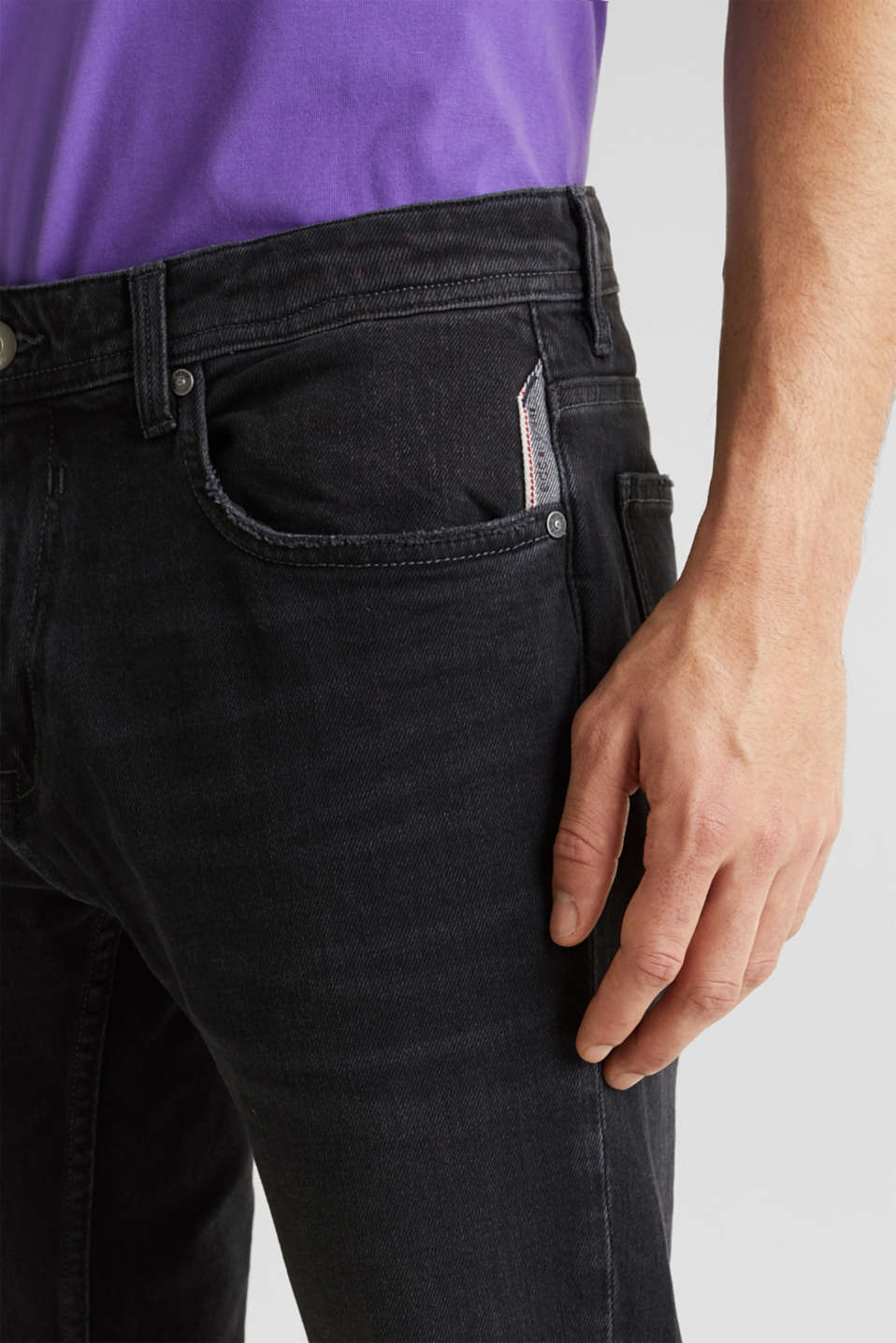 Stretch jeans with washed-out effects, BLACK MEDIUM WASH, detail image number 3