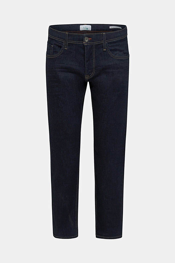 Basic jeans with stretch, BLUE RINSE, overview