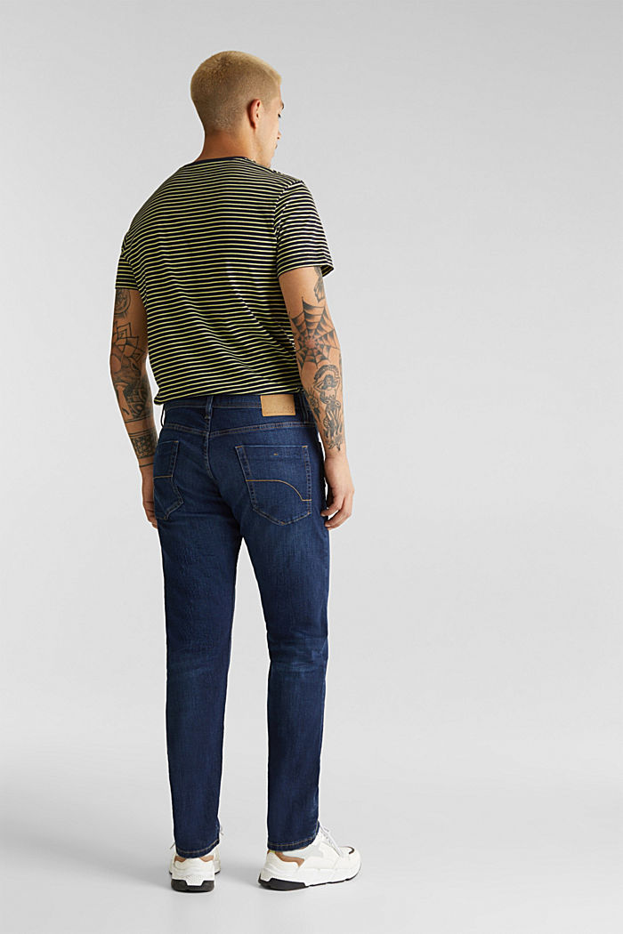 Basic jeans with stretch, BLUE DARK WASHED, detail image number 1