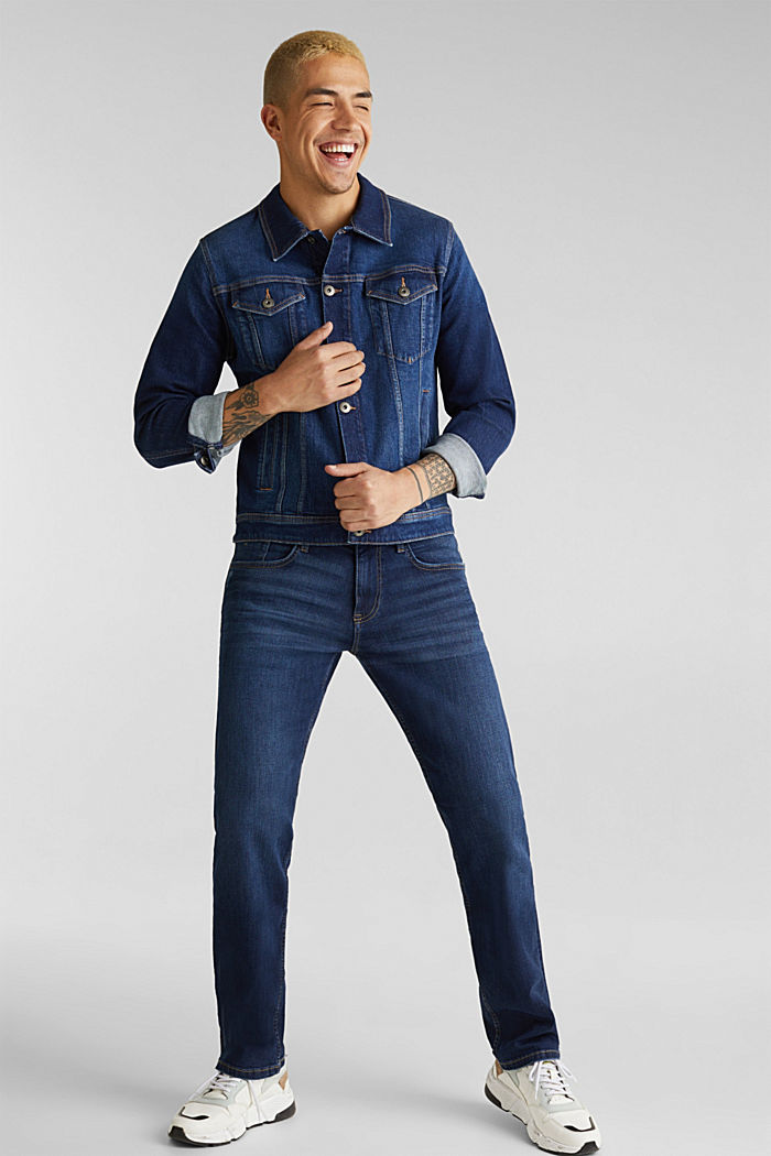 Basic jeans with stretch, BLUE DARK WASHED, detail image number 2