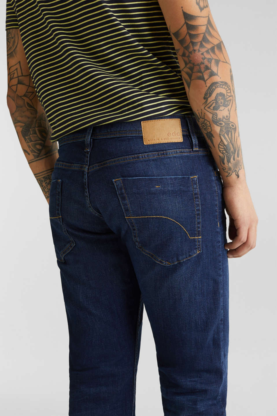 Basic jeans with stretch, BLUE DARK WASH, detail image number 3