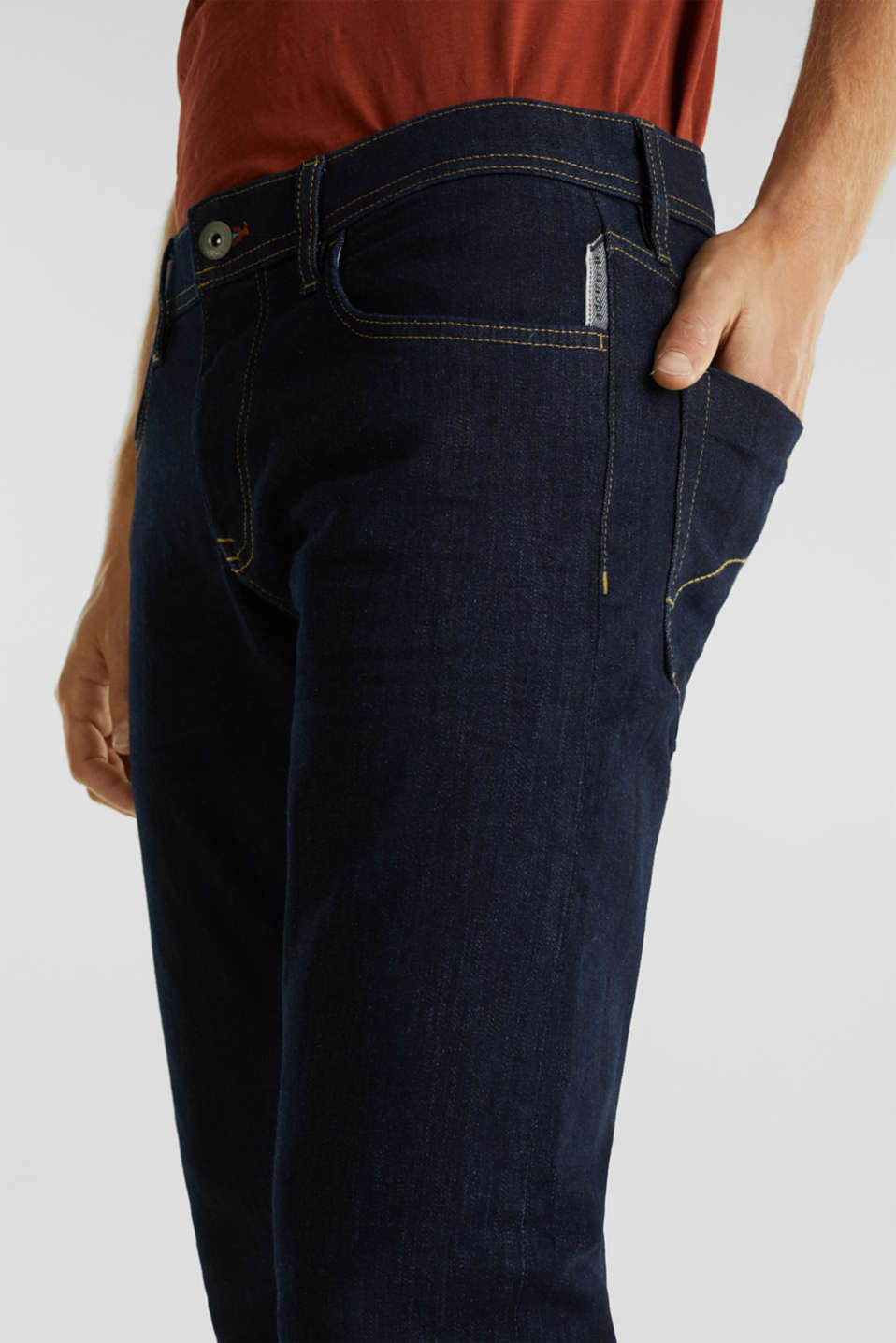 Stretch jeans in a basic design, BLUE RINSE, detail image number 3
