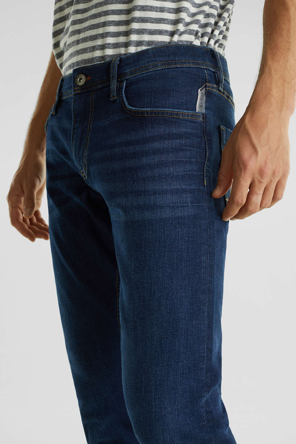 Stretch jeans in a basic design, BLUE DARK WASH, detail image number 3