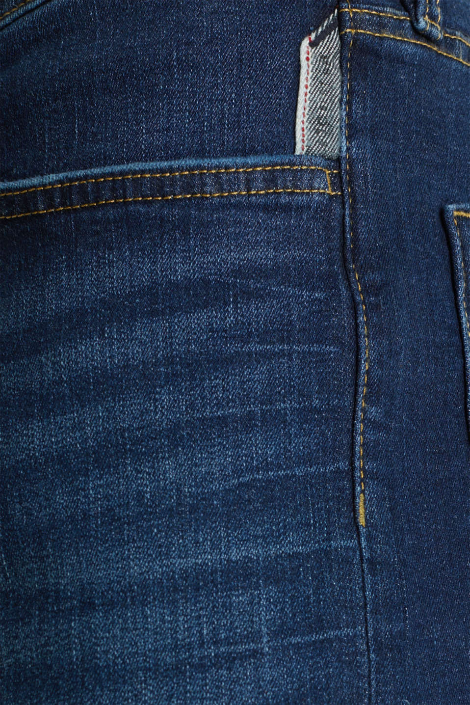 Stretch jeans in a basic design, BLUE DARK WASH, detail image number 4