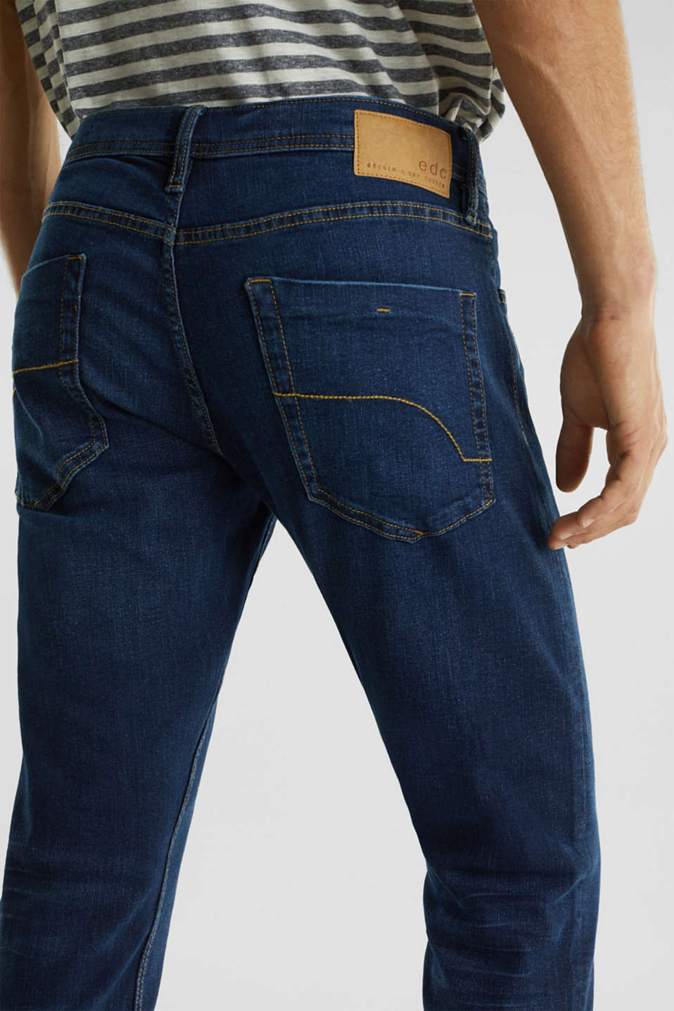 Stretch jeans in a basic design, BLUE DARK WASH, detail image number 5