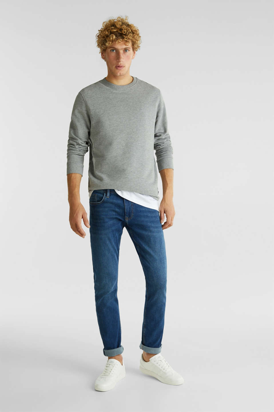 Stretch jeans in a basic design, BLUE MEDIUM WASH, detail image number 2