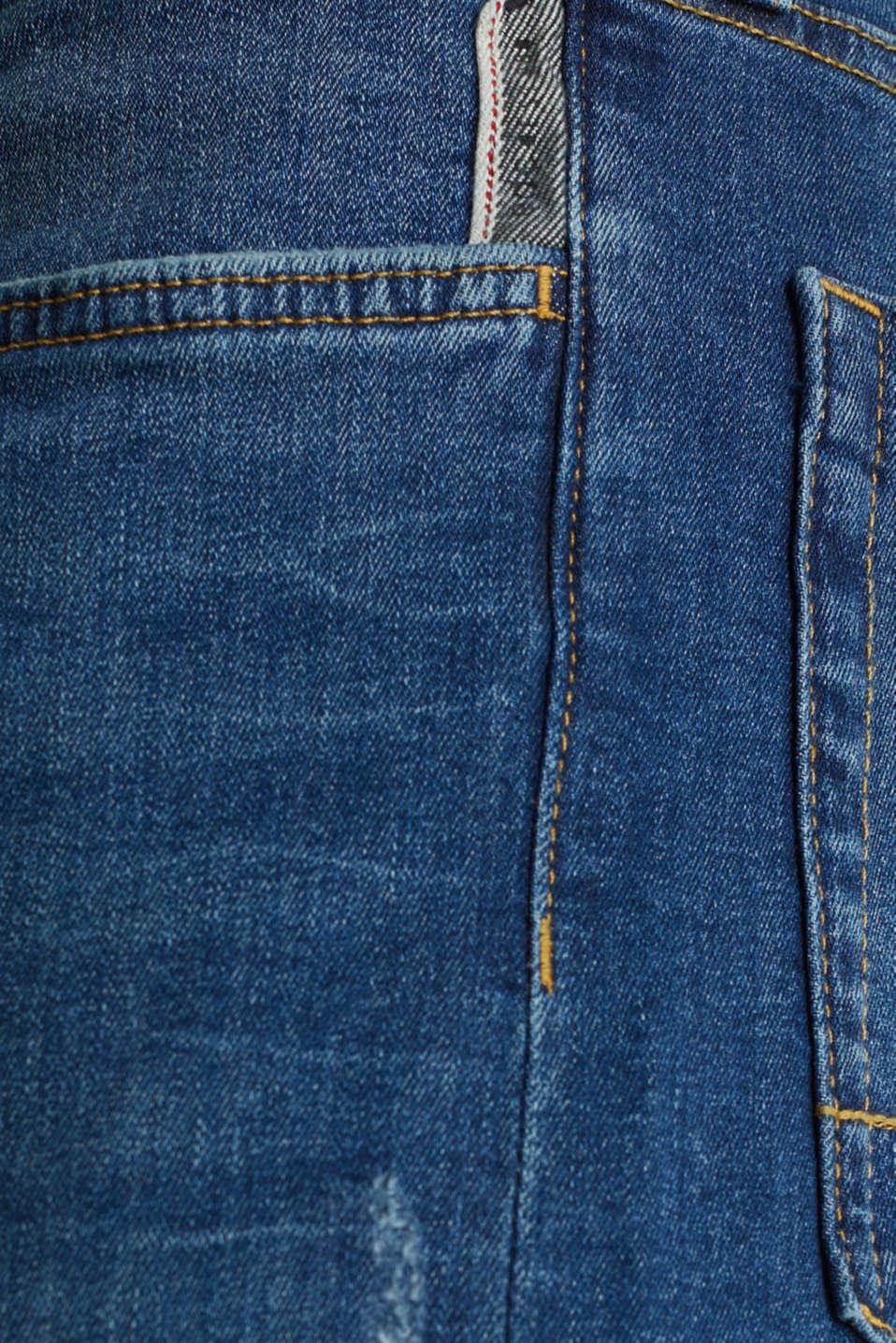 Stretch jeans in a basic design, BLUE MEDIUM WASH, detail image number 4