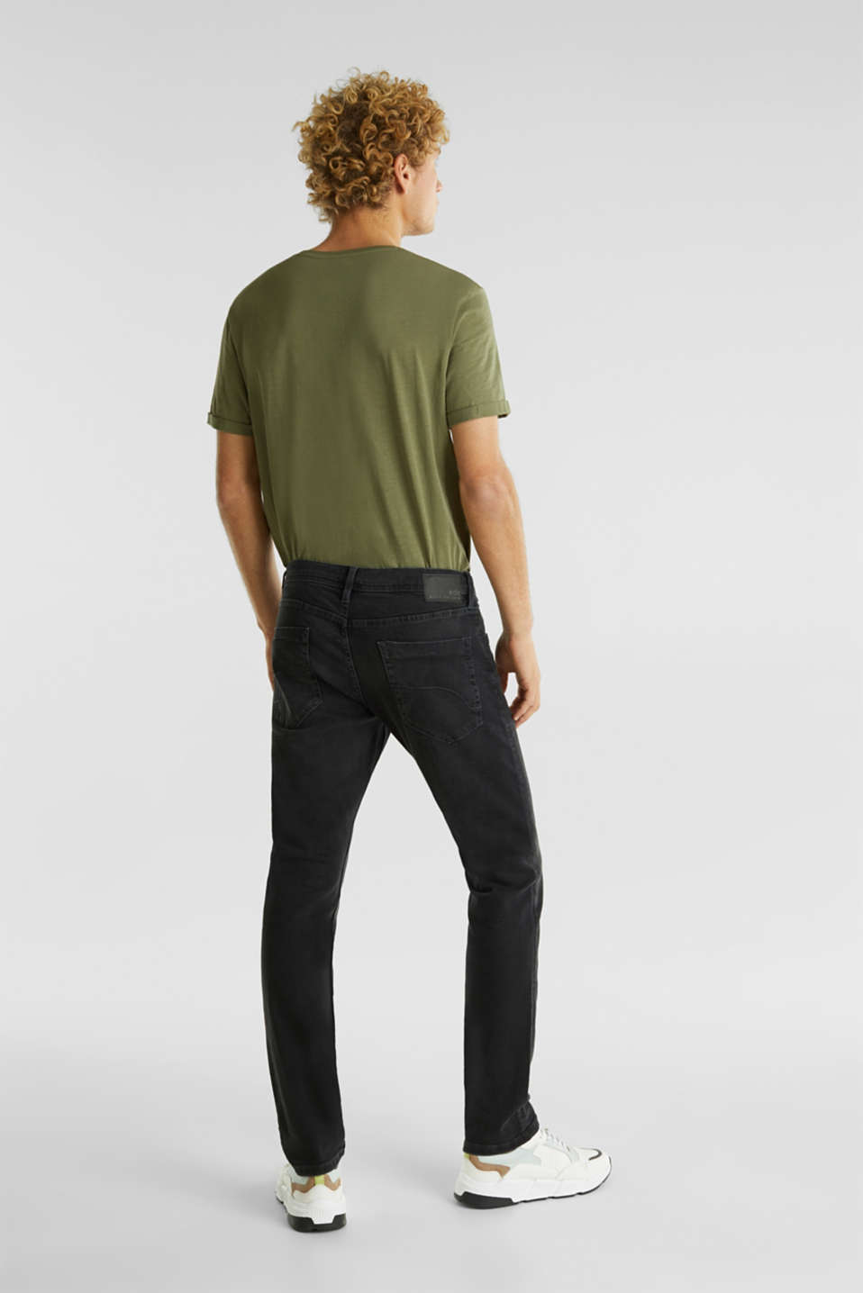 Stretch jeans in a basic design, BLACK DARK WASH, detail image number 1