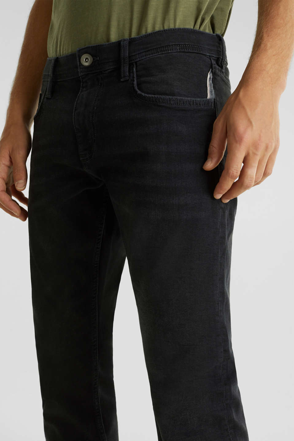 Stretch jeans in a basic design, BLACK DARK WASH, detail image number 3