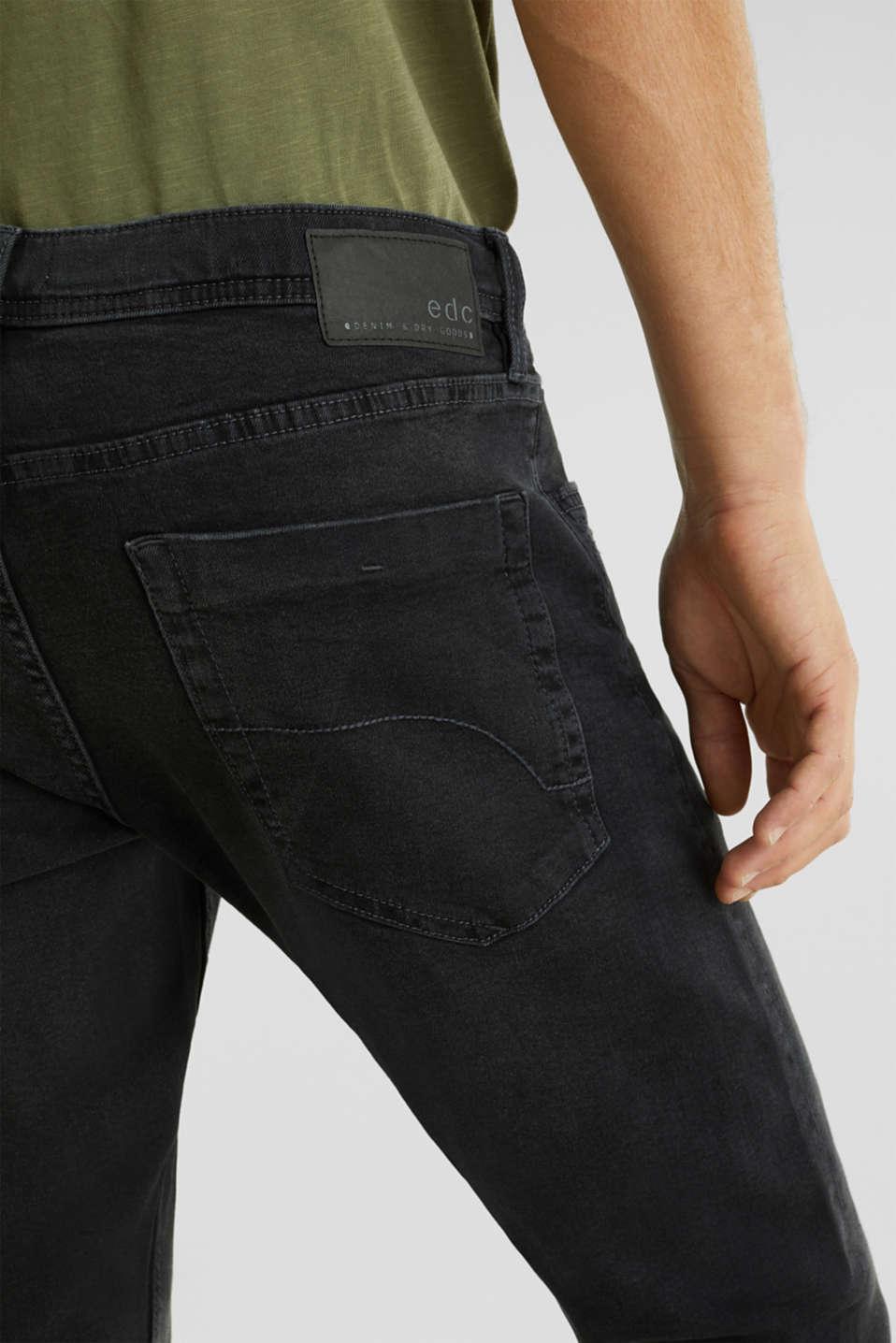 Stretch jeans in a basic design, BLACK DARK WASH, detail image number 5