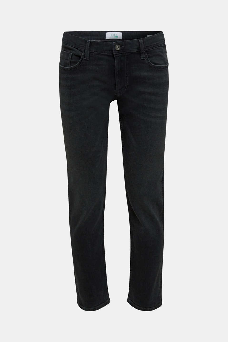 Stretch jeans in a basic design, BLACK DARK WASH, detail image number 6