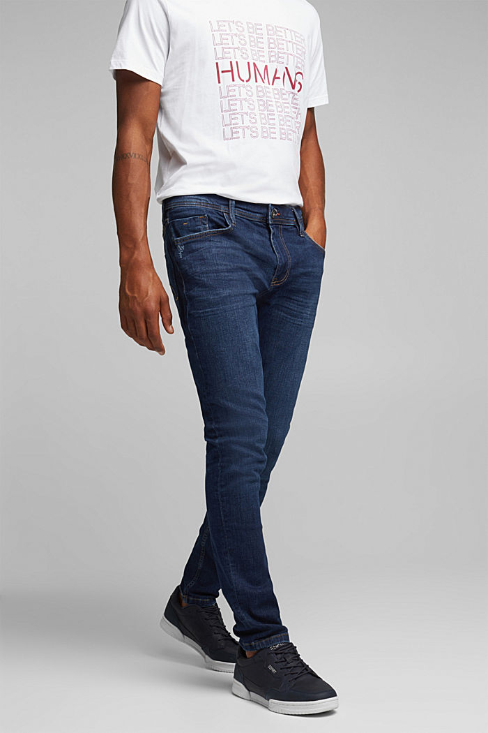 Stretch-Jeans im Basic-Look, BLUE DARK WASHED, overview