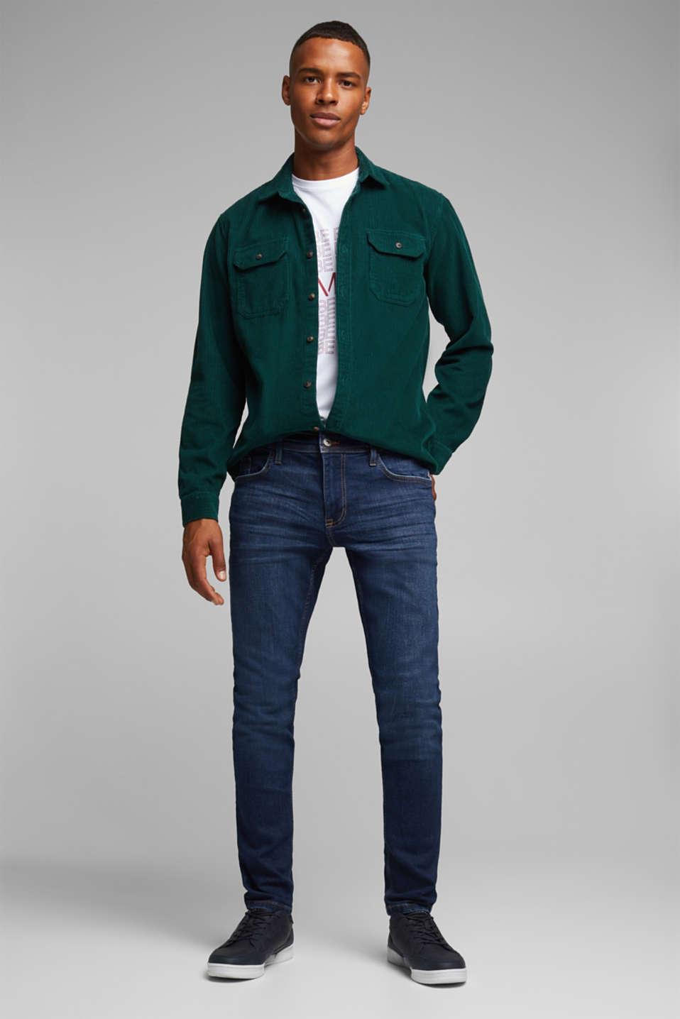 Stretch jeans in a basic design, BLUE DARK WASH, detail image number 2