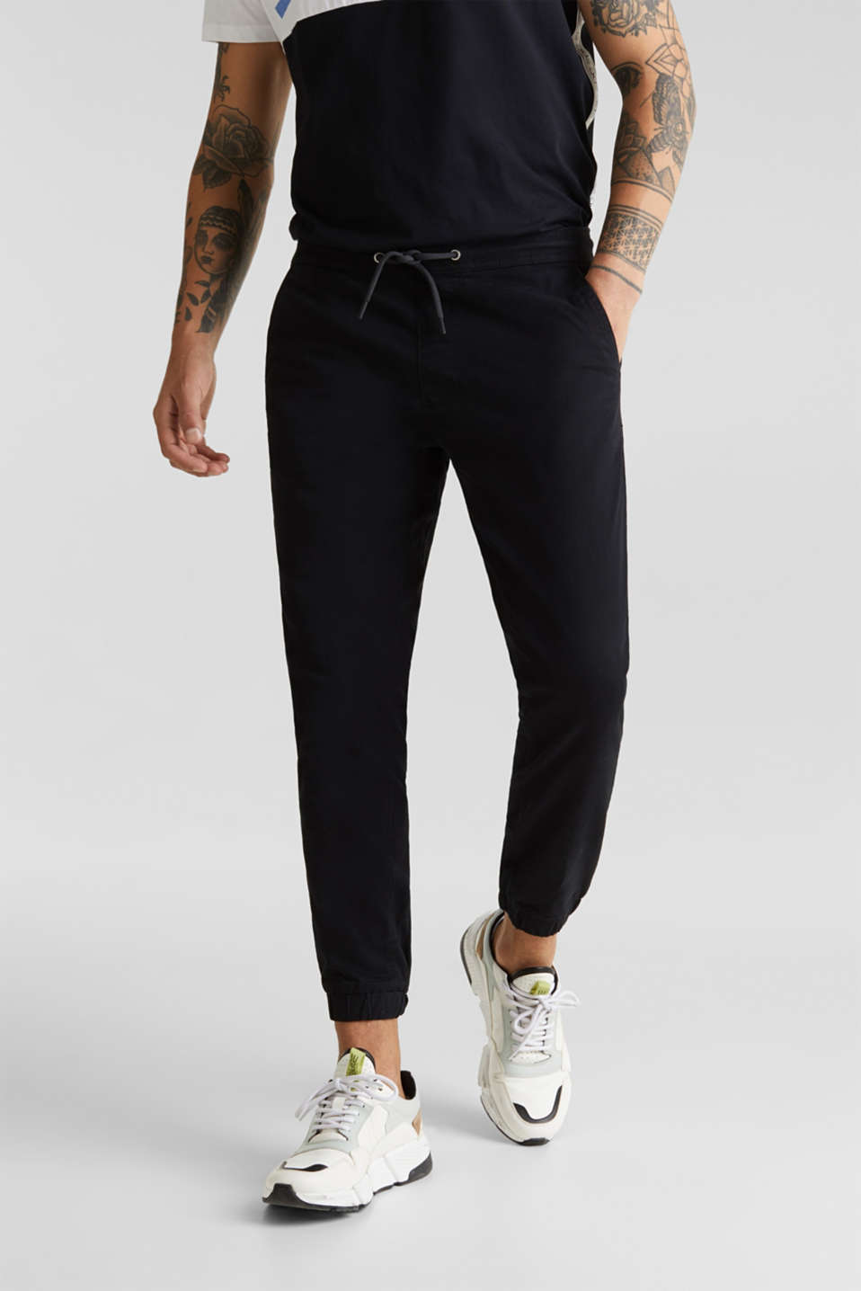 Tracksuit bottoms in twill 100% cotton, BLACK, detail image number 0