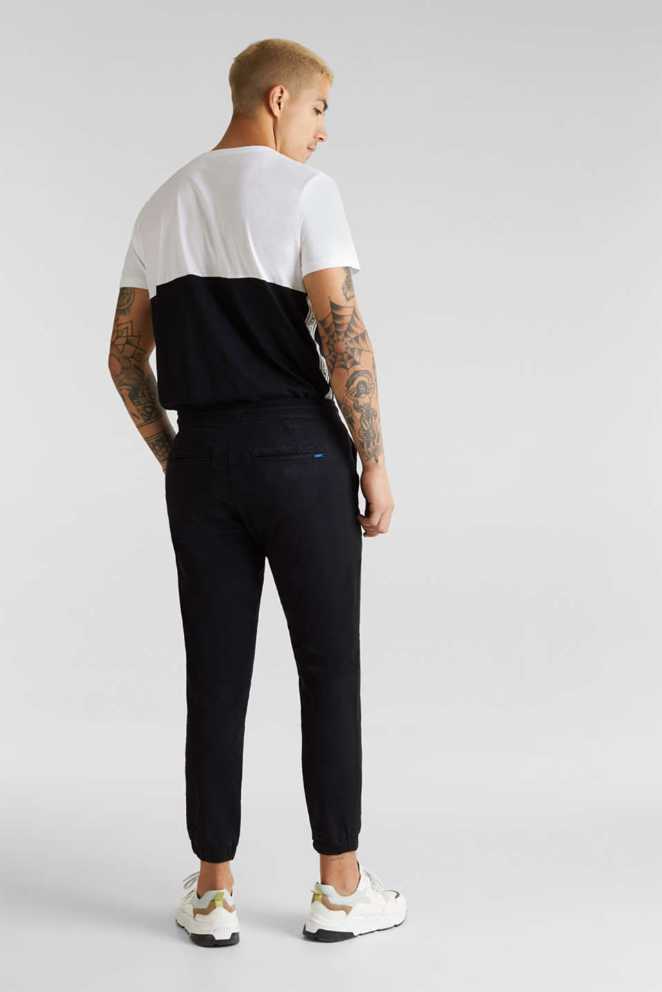 Tracksuit bottoms in twill 100% cotton, BLACK, detail image number 3