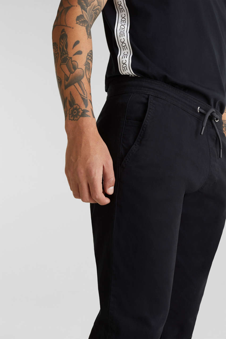 Tracksuit bottoms in twill 100% cotton, BLACK, detail image number 2