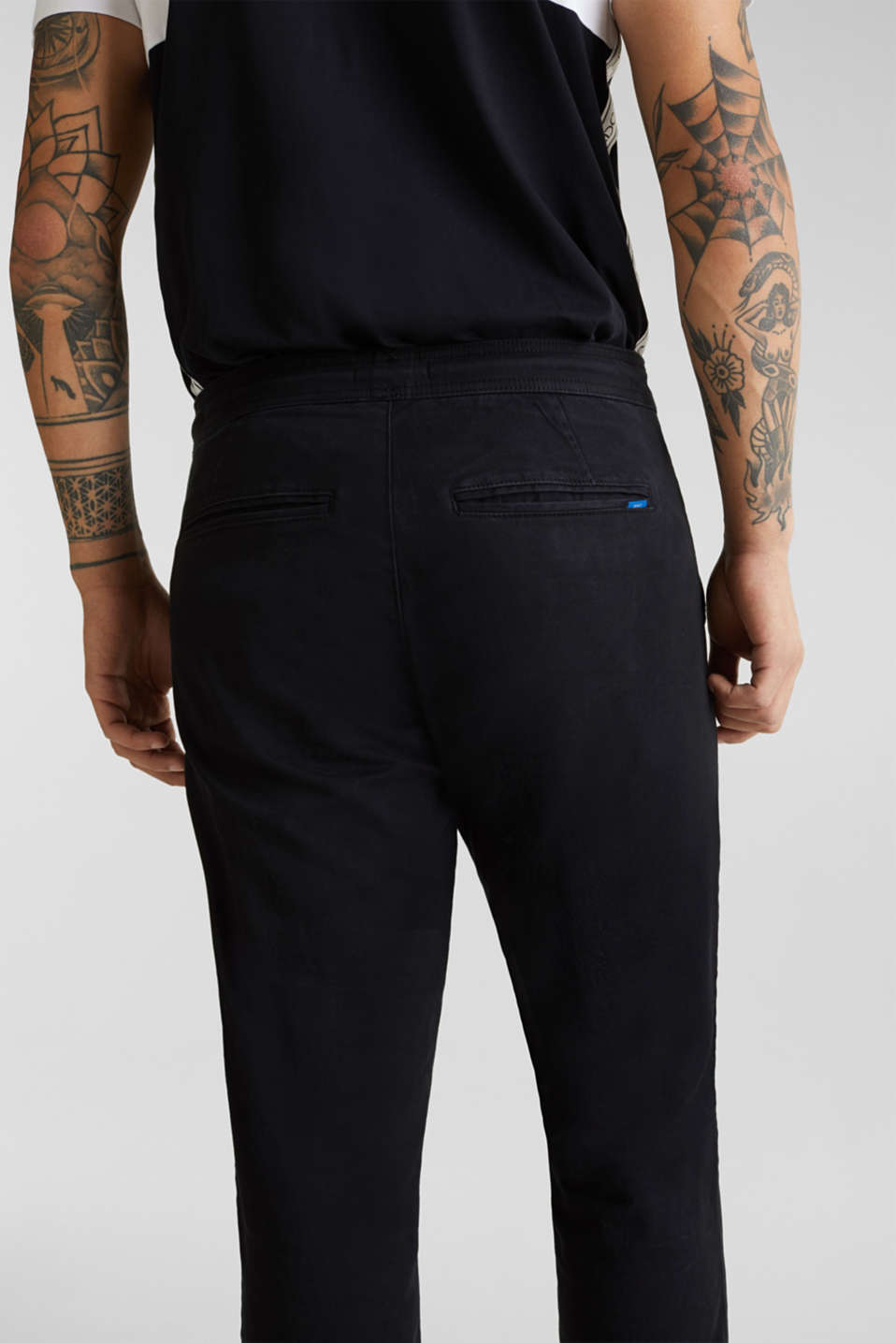 Tracksuit bottoms in twill 100% cotton, BLACK, detail image number 5