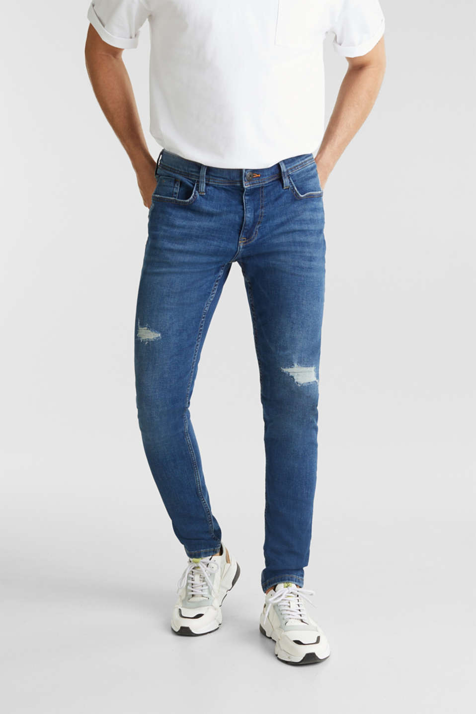 Distressed stretch jeans, BLUE MEDIUM WASH, detail image number 0
