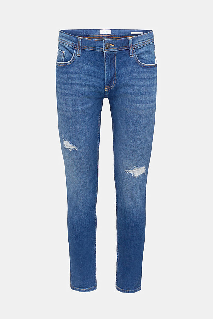 Distressed stretch jeans, BLUE MEDIUM WASHED, detail image number 0
