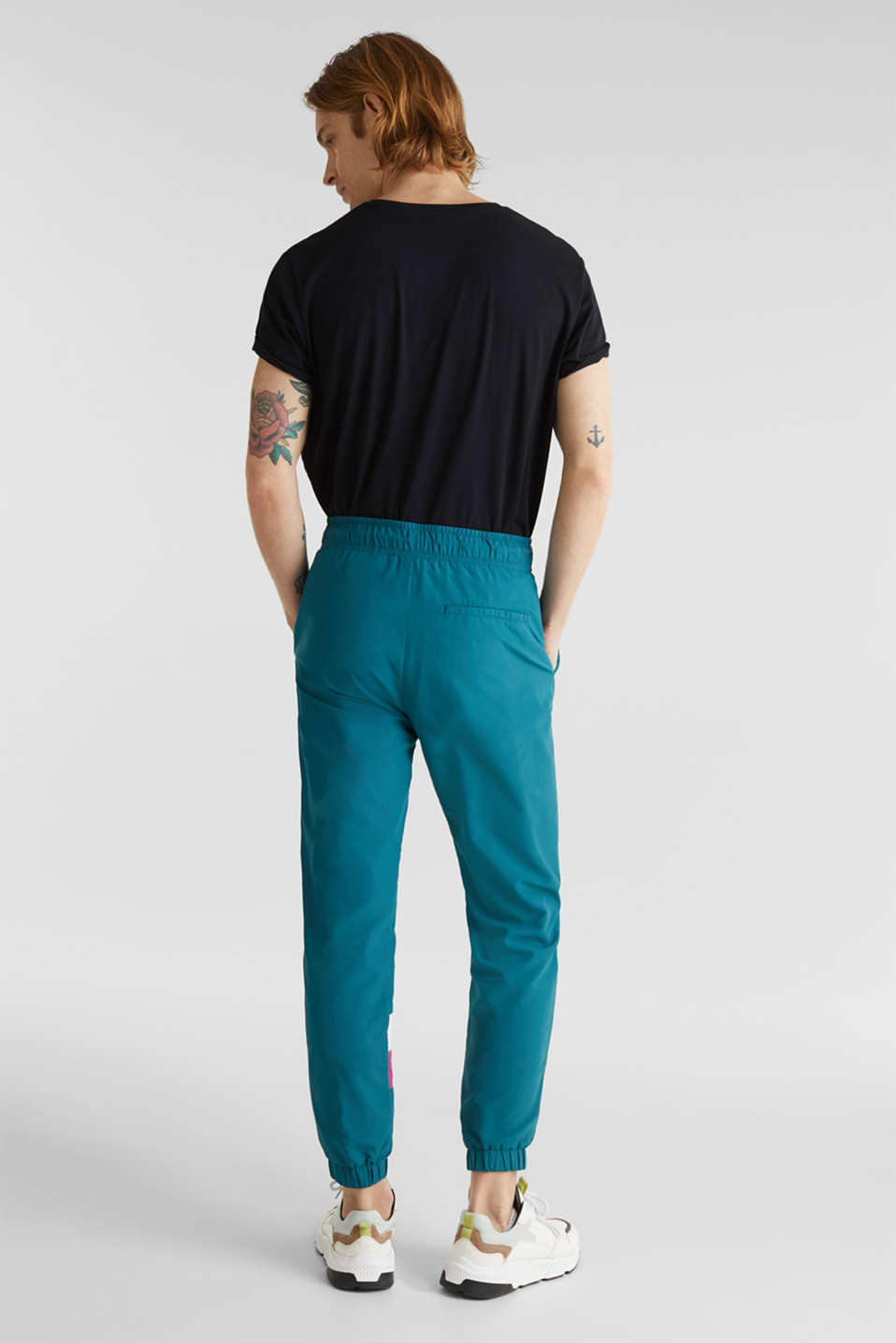 Retro nylon tracksuit bottoms, DARK TEAL GREEN, detail image number 3