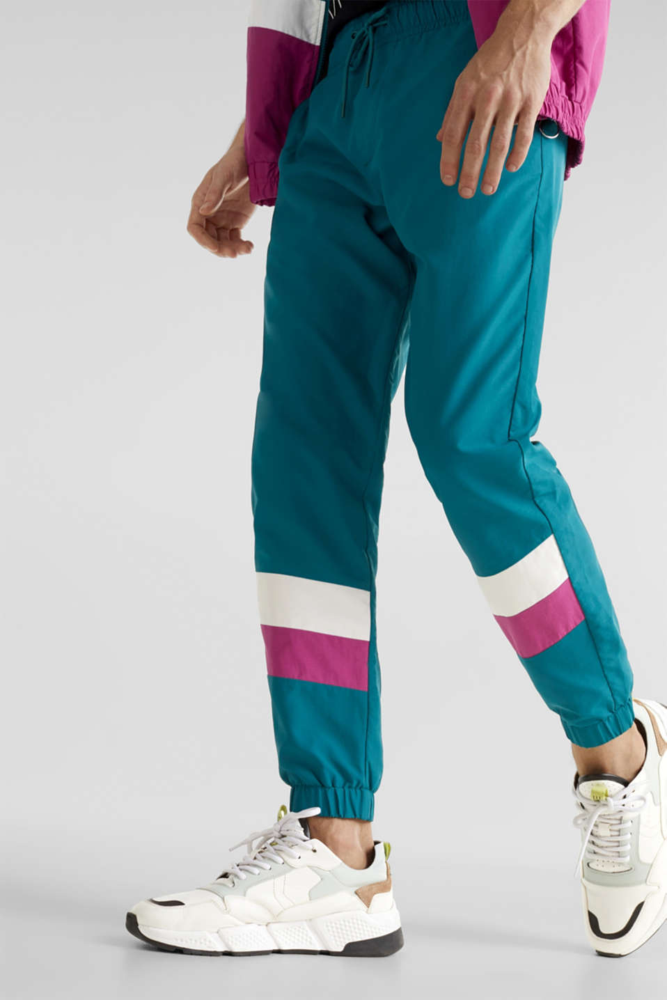 Retro nylon tracksuit bottoms, DARK TEAL GREEN, detail image number 2