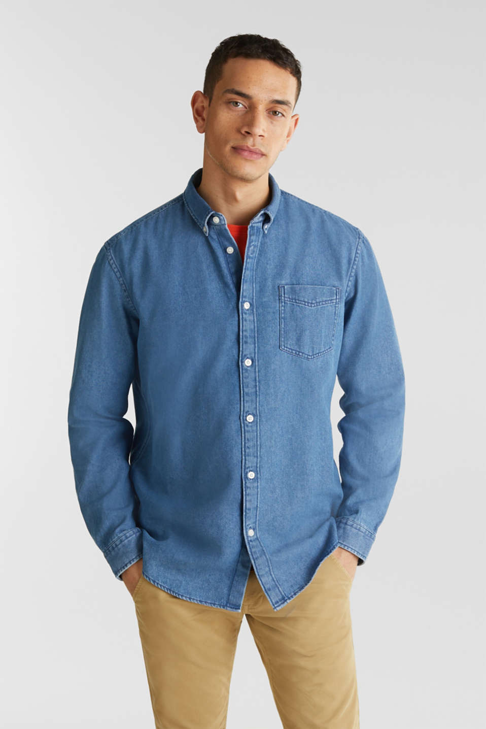 Denim shirt in 100% cotton, BLUE MEDIUM WASH, detail image number 0