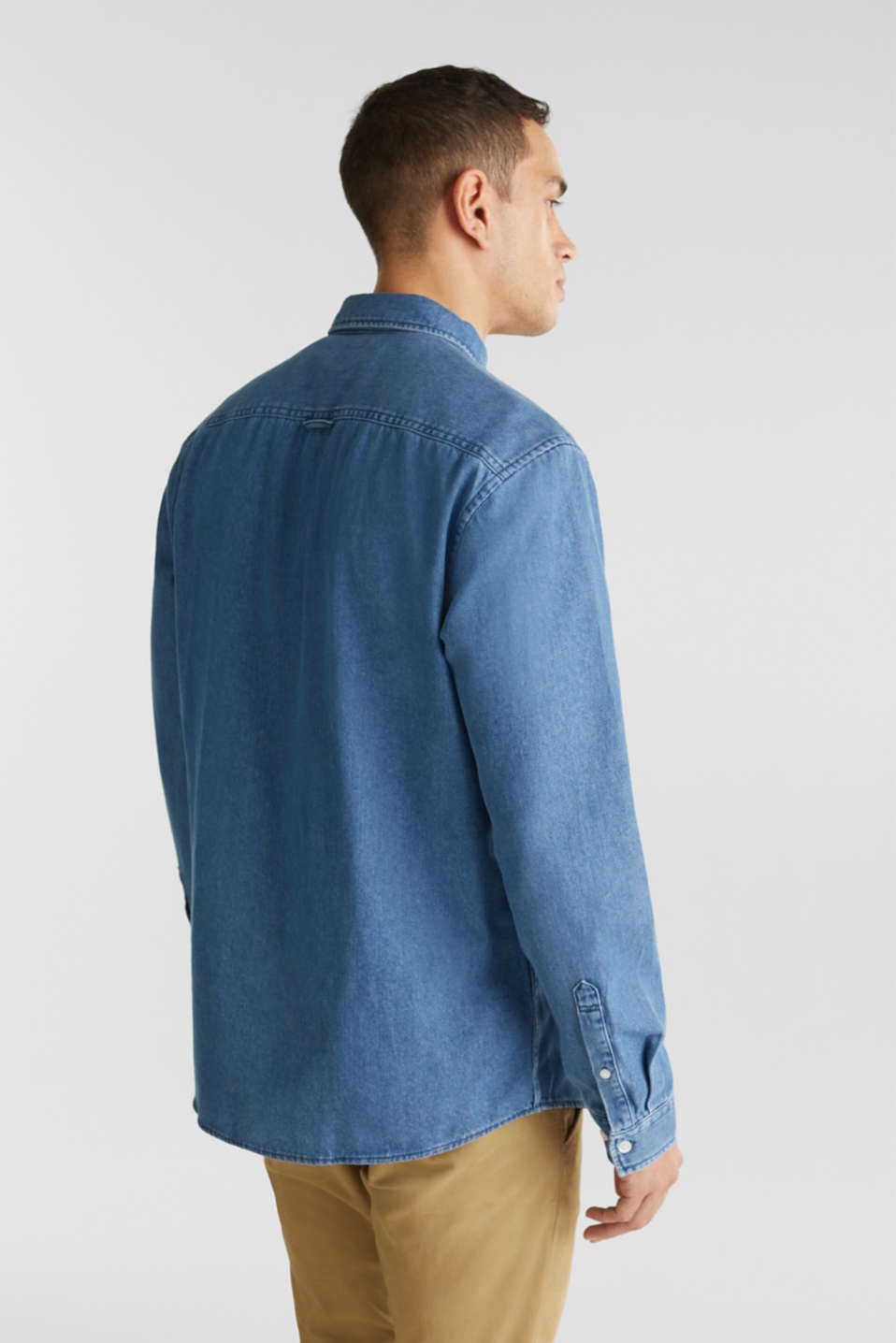 Denim shirt in 100% cotton, BLUE MEDIUM WASH, detail image number 2